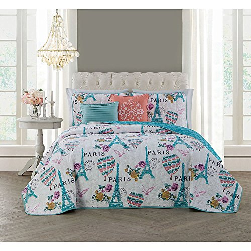 5pc White Teal Blue I Love Paris Quilt Queen Set, Microfiber Polyester, France Inspired Bedding Eiffel Tower Themed Air Balloons Florals Love Birds Stamps Grey French Artistic Pink by Unknown