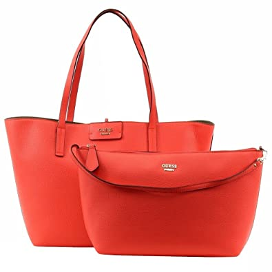 Amazon.com  Guess Womens Bobbi Faux Leather Reversible Tote Handbag Red  Large  Shoes 14ecb011cf648