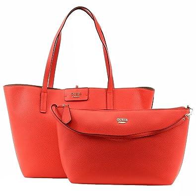 134d22a9a73a Amazon.com  Guess Womens Bobbi Faux Leather Reversible Tote Handbag Red  Large  Shoes