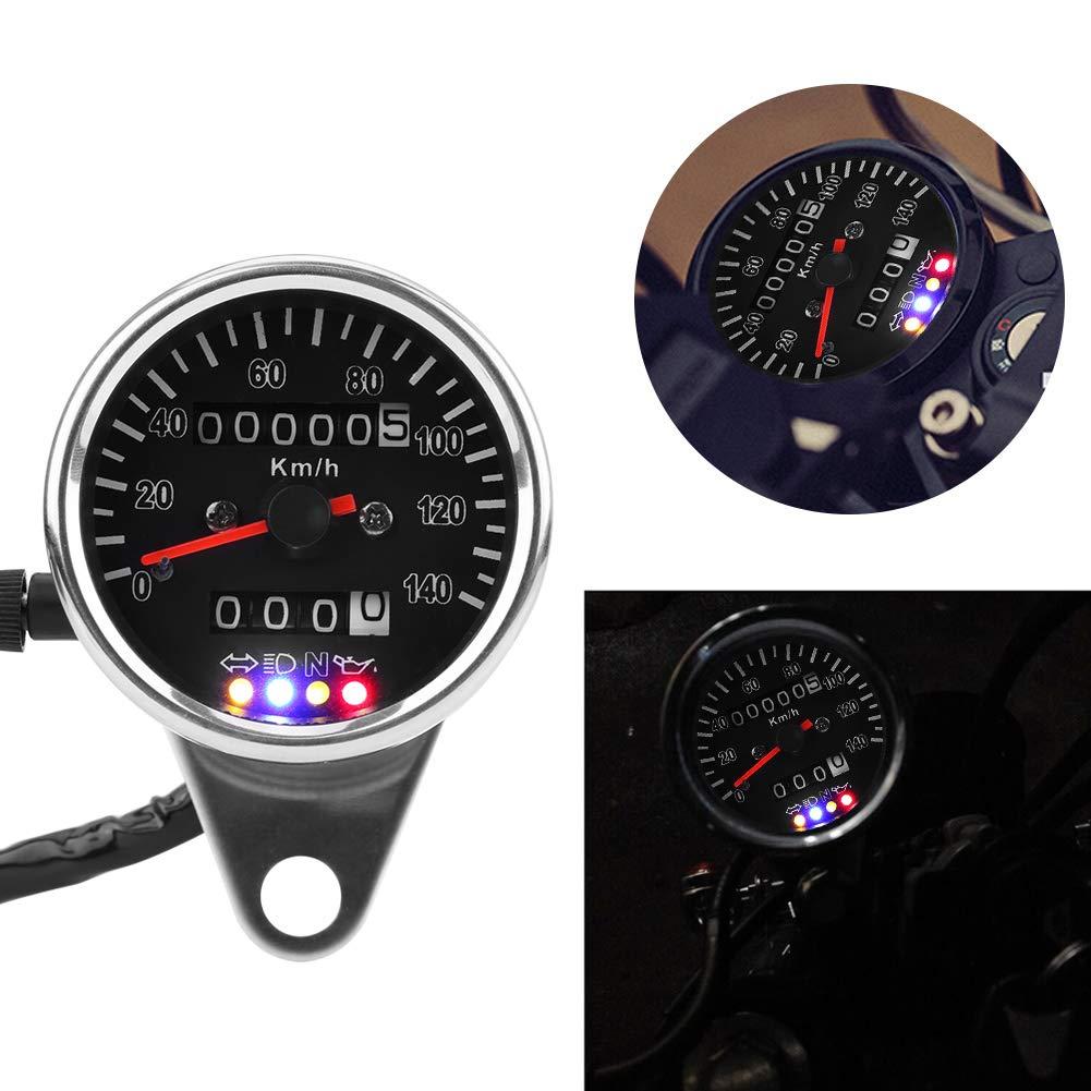 Splitter Keenso Tachometeranzeige 65 mm Schwarzes Gesicht Wasserdichter UV Schutz LED Mechanisches Motorrad Tachometer-Messger/ät mit Anzeige