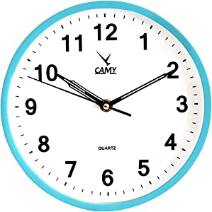 CAMY 9 Inch Wall Clock Silent Non Ticking Quality Quartz Battery Operated Round Easy to Read Home/Office/School Clock