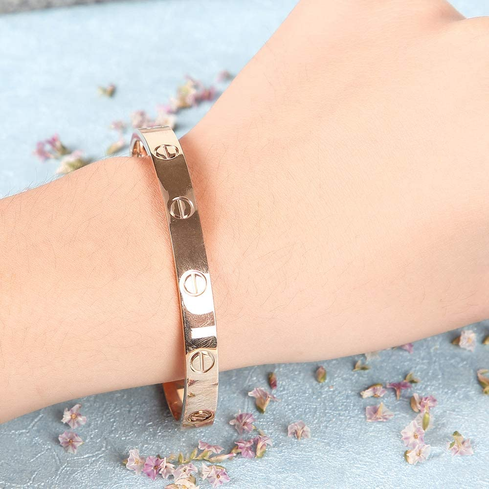 Screw Bracelets for Girls Adults Girlfriend Birthday Gifts wewett Titanium Steel Love Bracelet for Women Cuff Bracelets Valentines Wedding Couples Bracelets