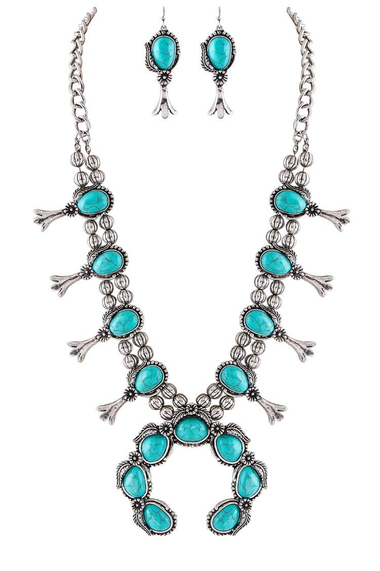 Jayde N' Grey Navajo Southwestern Squash Blossom Turquoise Necklace (Turquoise Classic Large Size)