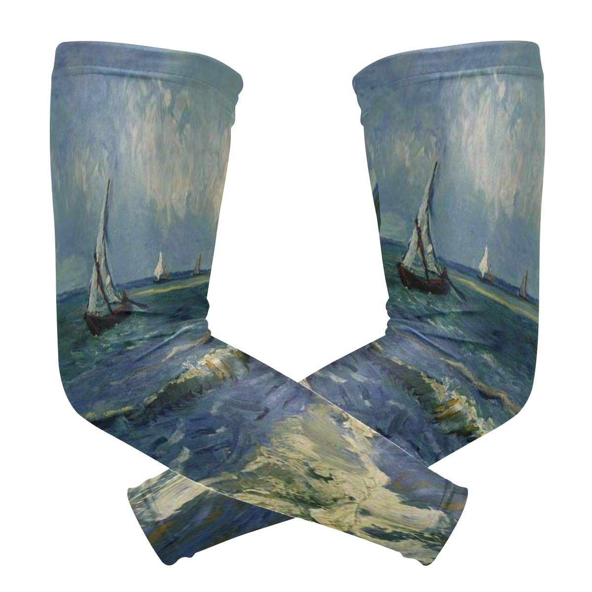 Arm Sleeves Monet Painting Sailboat Mens Baseball Long Cooling Sleeves Sun UV Compression Arm Covers