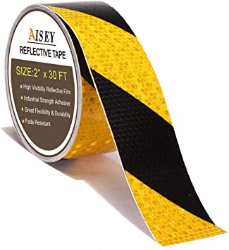 Reflective Caution Tape Conspicuity Waterproof Yellow//Red Safety Strips Tape Out