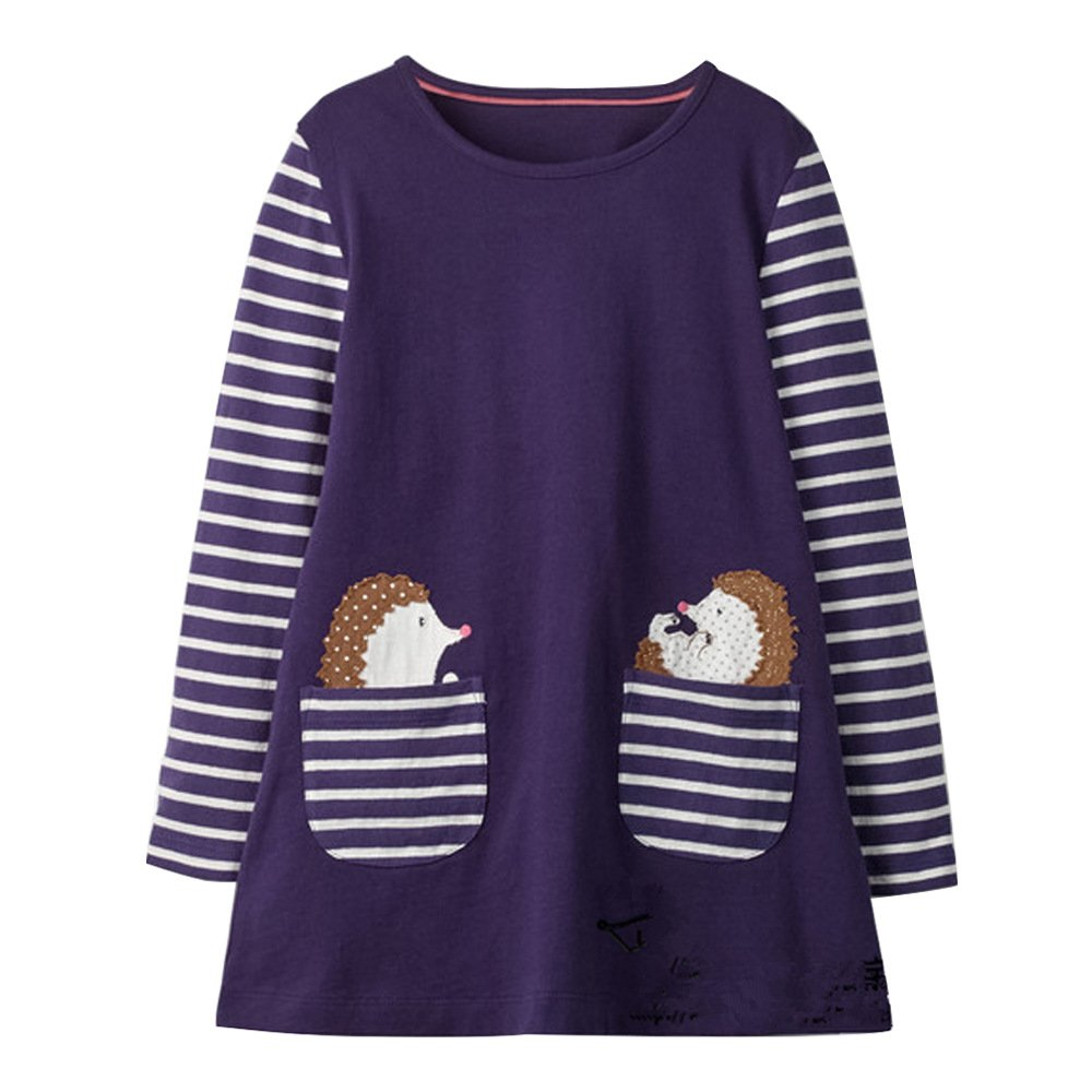 Little Girls Cotton Crewneck Print Animals Long Sleeve Dress (4T, Hedgehogs)
