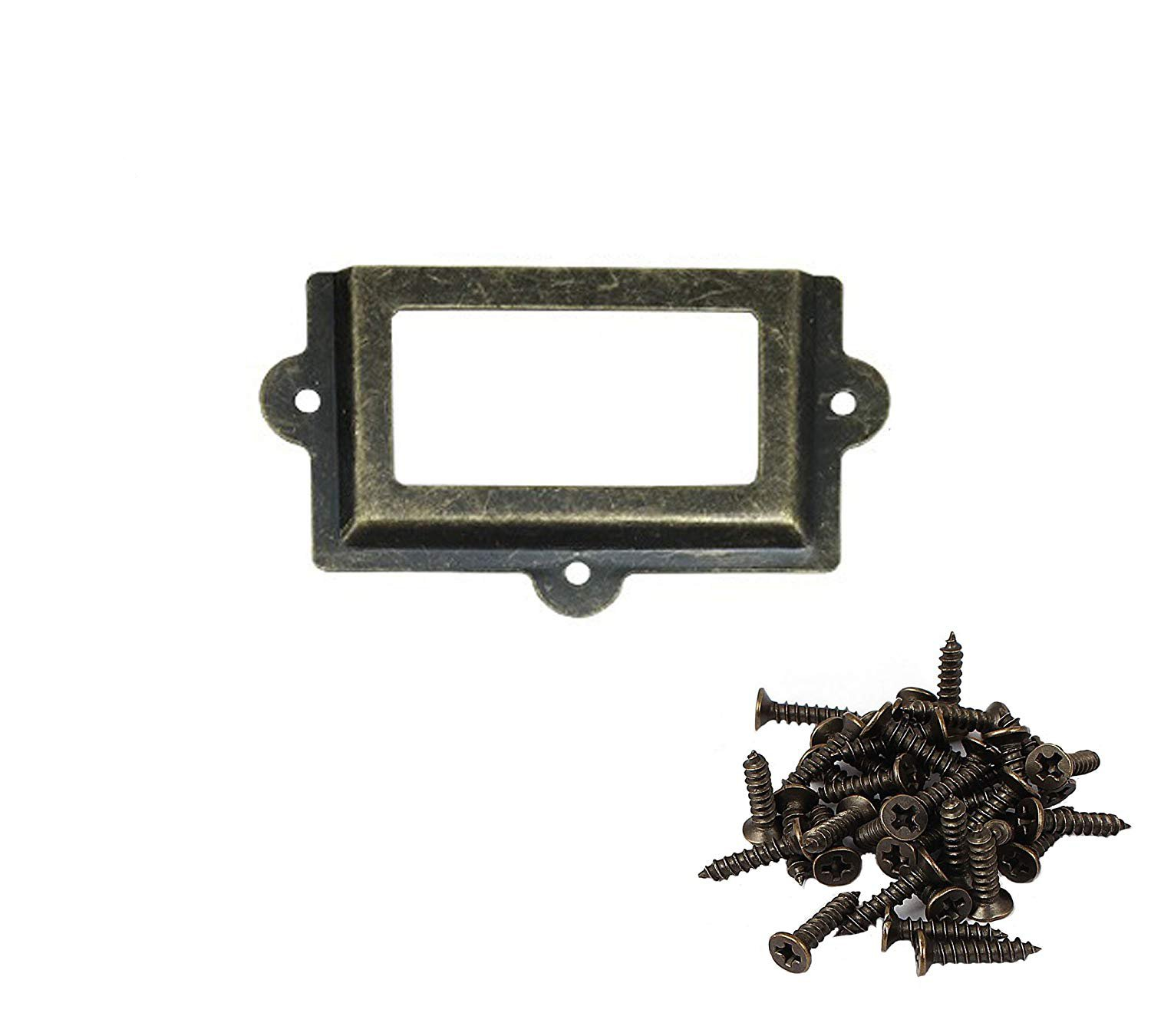 ZXHAO 107X61mm/4.21X2.4 inch Antique Cabinet Shelves Drawer Filing Cabinet Office Label Name Card Frame Holder 10pcs (Green Bronze)