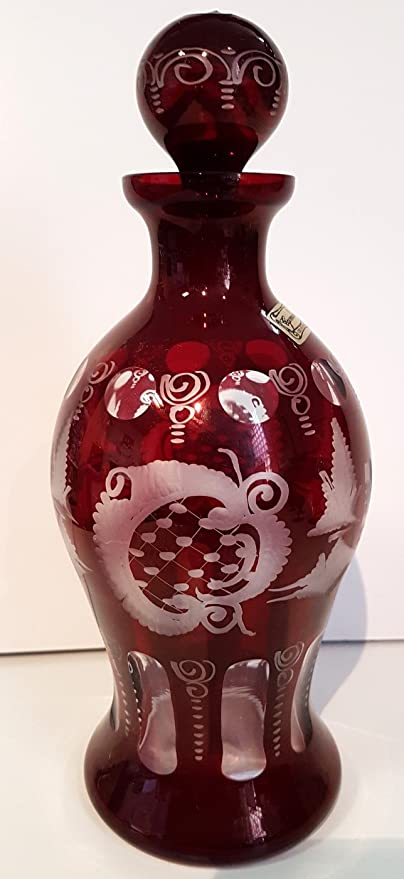 Egermann jarra de cristal antiguo, botella de vidrio soplado a boca y corte de la