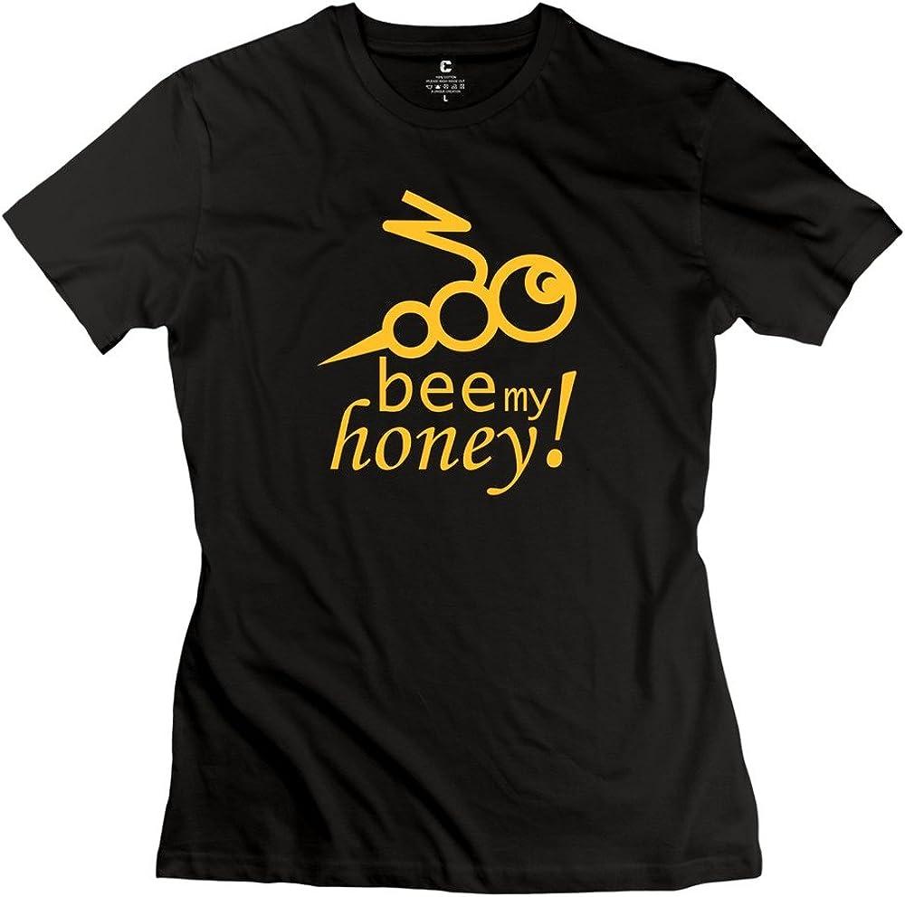 ZWSY Women's T Shirt Bee My Honey - sei Mein Liebling - Herz Black