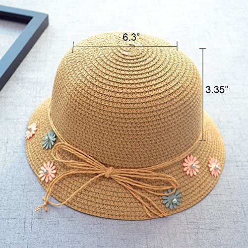 Cute Bow Summer Beach Flower Bow Lace Sun Cap and Handbag for Kids Girls Straw Sun Hat Bag Set