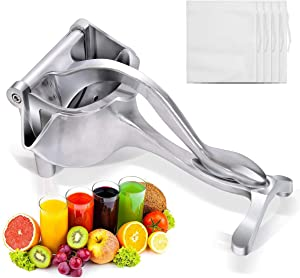 ALEEHAI Manual Fruit Juicer Lemon Squeezer, Aluminium Alloy Hand Squeezer, Easy Use Heavy Duty Lemon Citrus Juicer Manual Fruit Press Squeezer Extractor Tool (Silver)