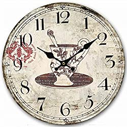 Classy Wooden Round Clock, Eruner Decorative Rustic Clock for Family Room Vintage Unique Style Kitchen Living Room Wall Clock Above Fireplace Mantel 14-inch