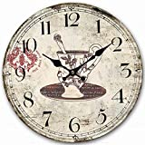 Classy Wooden Round Clock, Eruner Decorative Rustic Clock for Family Room Vintage Unique Style Kitchen Living Room Wall Clock Above Fireplace Mantel 12-inch