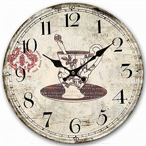 Classy Wooden Round Clock, Eruner Decorative Rustic Clock for Family Room Vintage Unique Style Kitchen Living Room Wall Clock Above Fireplace Mantel 14-inch Decorative Fireplace Mantels