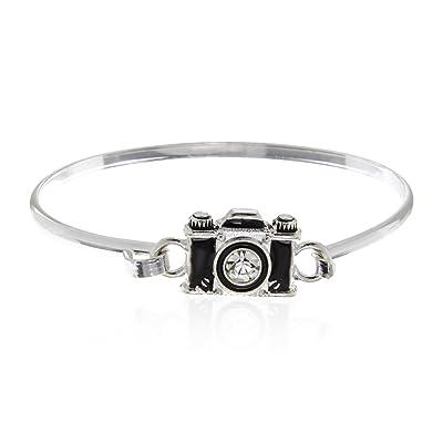 31f4f1eaa5462 PammyJ Silvertone Black Camera Bangle Hook Bracelet [5Ocrp1600854 ...