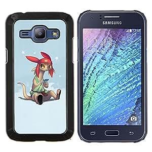 KLONGSHOP // Cubierta de piel con cierre a presión Shell trasero duro de goma Protección Caso - Personaje de dibujos animados Anime Tecnología Orejas grandes - Samsung Galaxy J1 J100 //