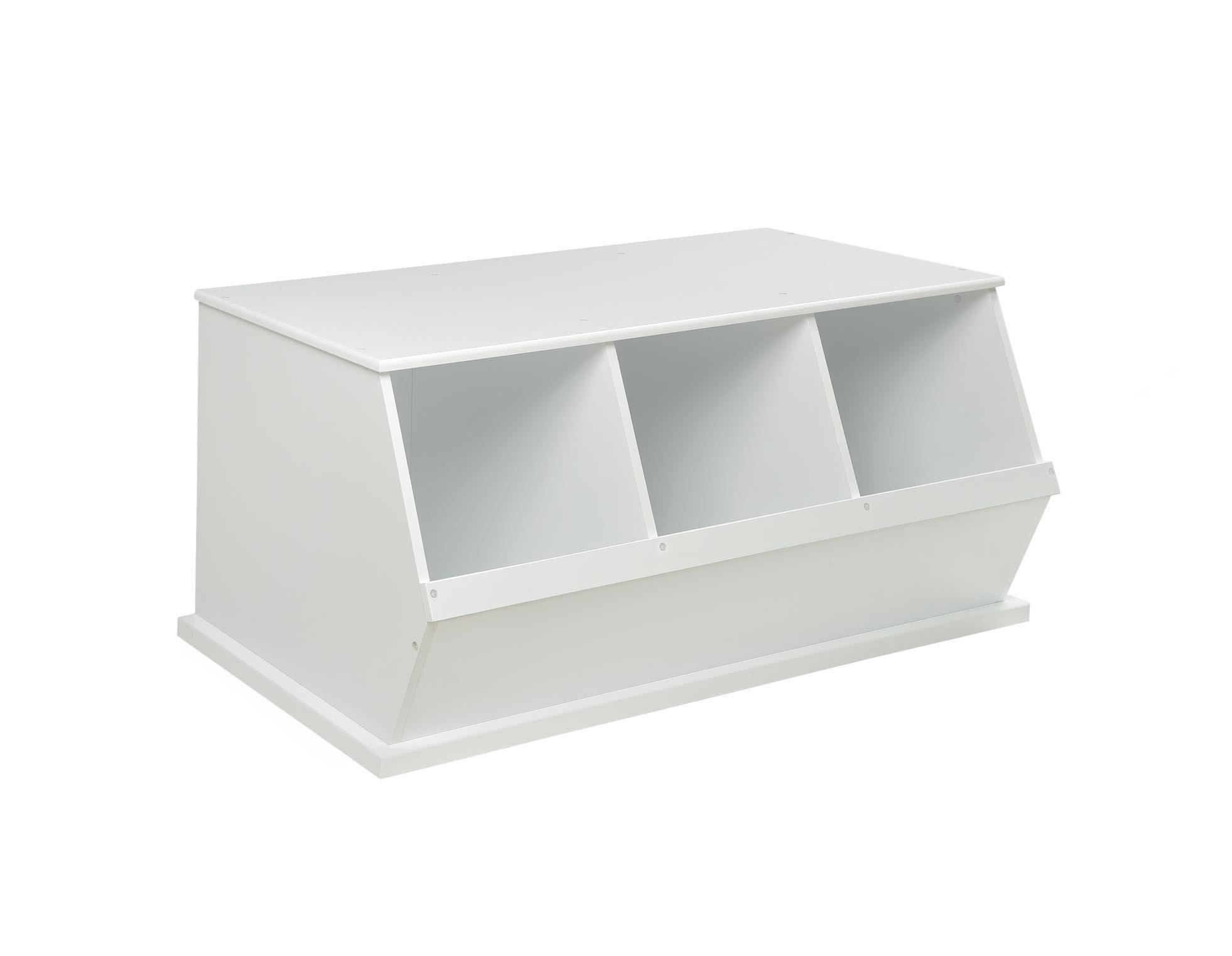 Badger Basket Three Bin Storage Cubby - White