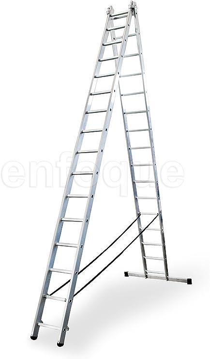 Escalera profesional de aluminio transformable apoyo-tijera con base un acceso 2 x 16 peldaños serie bis: Amazon.es: Hogar