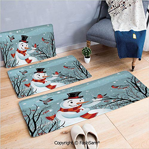 FashSam 3 Piece Non Slip Flannel Door Mat Snowy Winter Tree Branches Berries Bullfinch Birds Snowman Hat Decorative Indoor Carpet for Bath Kitchen(W15.7xL23.6 by W19.6xL31.5 by W31.4xL47.2) ()