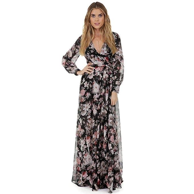 Damen Lange Langarm Kleid Blumenkleid Chiffon Drucken Strandkleid Vintage  Abendkleid V-Ausschnitt High Waist Elegant Floral Print Boho Casual Partei  Knöchel ... 4cfe431555