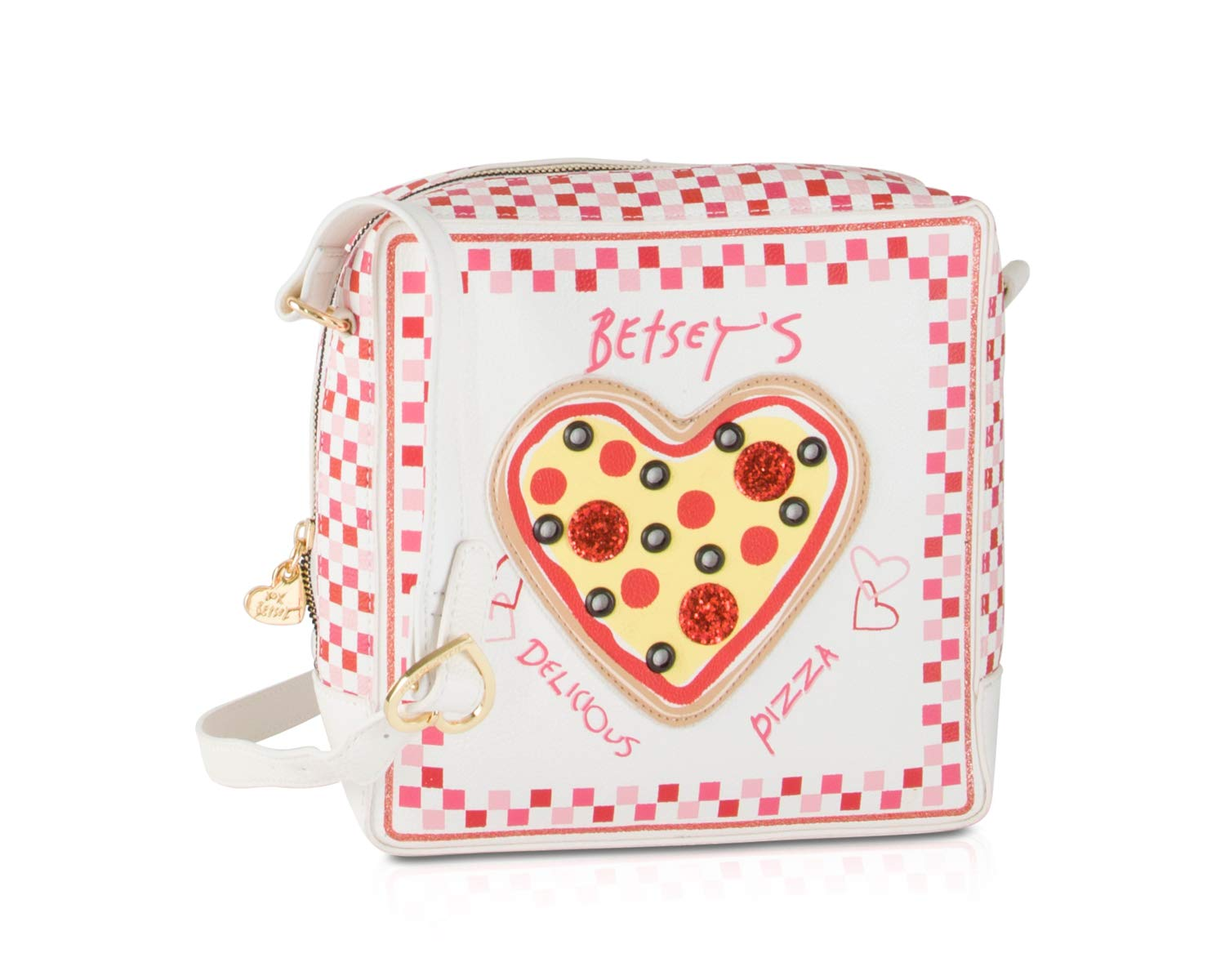 ویکالا · خرید  اصل اورجینال · خرید از آمازون · Betsey Johnson Kitch Pizza Box Kitch Crossbody Shoulder Bag - Cream wekala · ویکالا