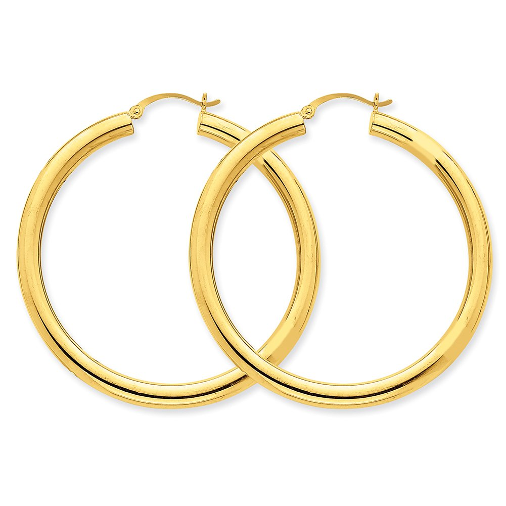 10k Yellow Gold Polished 4mm x 50mm Tube Hoop Earrings 10T952 by Lex and Lu