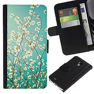 Planetar® Modelo colorido cuero carpeta tirón caso cubierta piel Holster Funda protección Para Samsung Galaxy S4 Mini i9190 / i9195 (Not For S4) ( Sun Tree Apple Blossom Blue White )