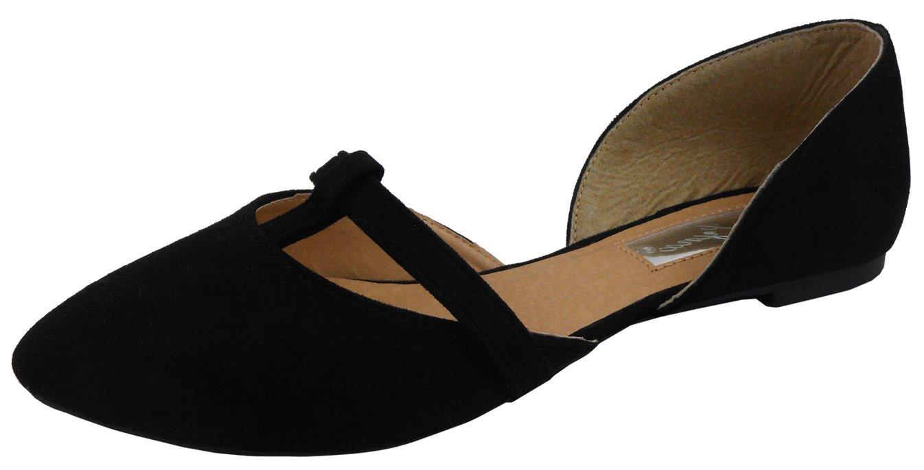 Jynx Women's D'Orsay T-Strap Closed Pointed Toe Slip-on Ballet Flat B072QDDD7D 7 B(M) US Black