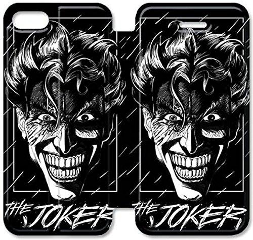 Flip étui en cuir PU Stand pour Coque iPhone 5 5S, bricolage 5 5S cas de téléphone cellulaire Insane Stare Le Joker N7N6DW Plastique Coque iPhone fourreaux en cuir