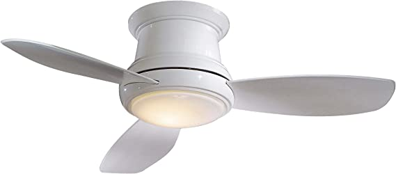 Minka Group Company F518 Wh Flush Mount 3 White Blades Ceiling Fan With 44 Watts Light White Amazon Com