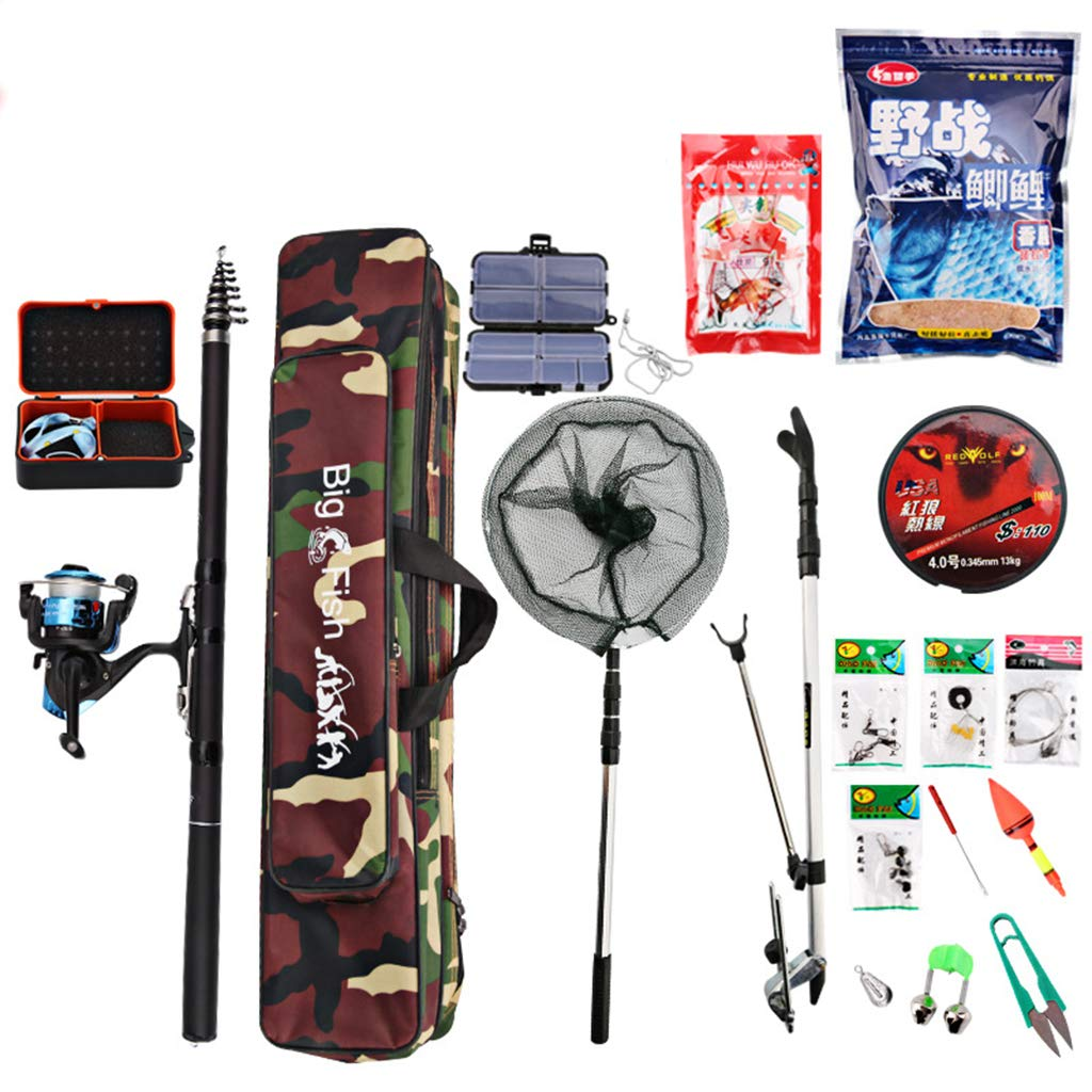 Fishing Rod Telescopic and Spinning Reel Combo Set with Fishing Line, Fishing Lures Kit Accessories and Carrier Bag for Saltwater Freshwater-2.7m by GSPURS