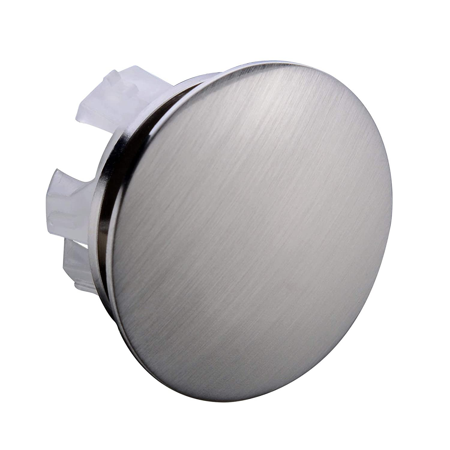 Orhemus Solid Brass Sink Overflow Cap Round Hole Cover for Bathroom Basin, Brushed Nickel Finish