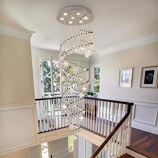 Araña cristal lujo, luz de techo blanca cálida LED sala comedor ...