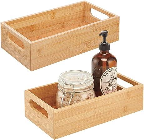 mDesign Juego de 2 cajas de bambú con asas – Cesta guardatodo de madera para almacenaje – Para