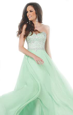 Top-Sexy Strapless Beaded Chiffon Gown Rhinestone Prom Dress