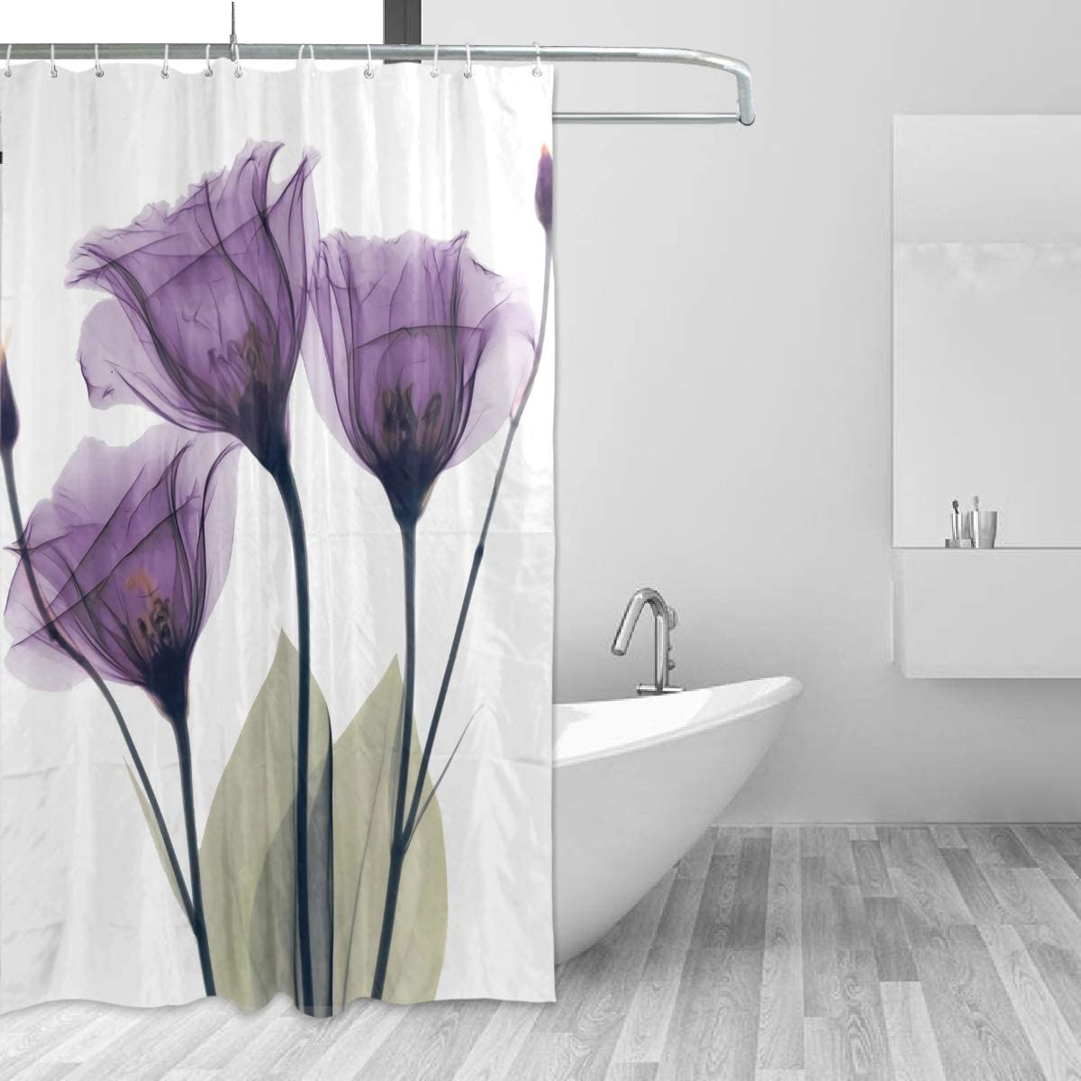 ZOEO Lavender Shower Curtain Purple Hope Flowers Backdrop Bathroom Home Decor Set Fabric Bridal Polyester Washable Waterproof 12 Hooks for Women 60x72 Inch