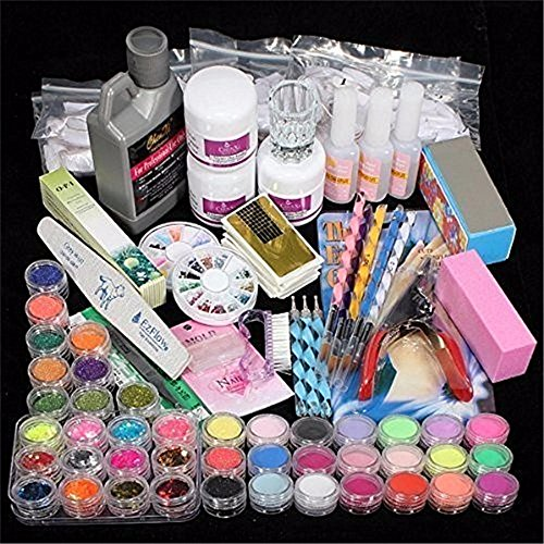 Guide Combo Pack - Mitsutomi, 42 Professional Acrylic Glitter Color Powder Nail Art Deco Tips Set Kit (Multicolor)