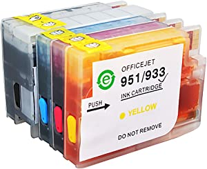 Aomya 4 Pack Refillable Ink Cartridge New Version Replacement for HP 932 933 with Full Ink for HP Officejet 6700 Premium HP Officejet 6600 HP 6100