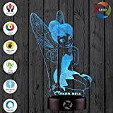 3D Optical Illusion Night Light - 7 LED Color Changing Lamp - Cool Soft Light Safe For Kids - Solution For Nightmares - Disney Fairy Tinker Bell Peter Pan