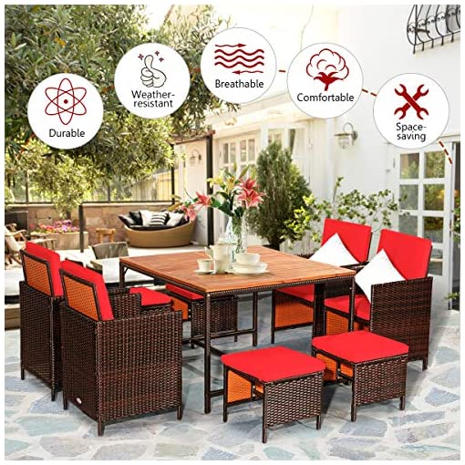 Garden and Outdoor Tangkula 9 Pieces Acacia Wood Patio Dining Set, Space Saving Wicker Chairs and Wood Table with Umbrella Hole Outdoor… patio dining sets