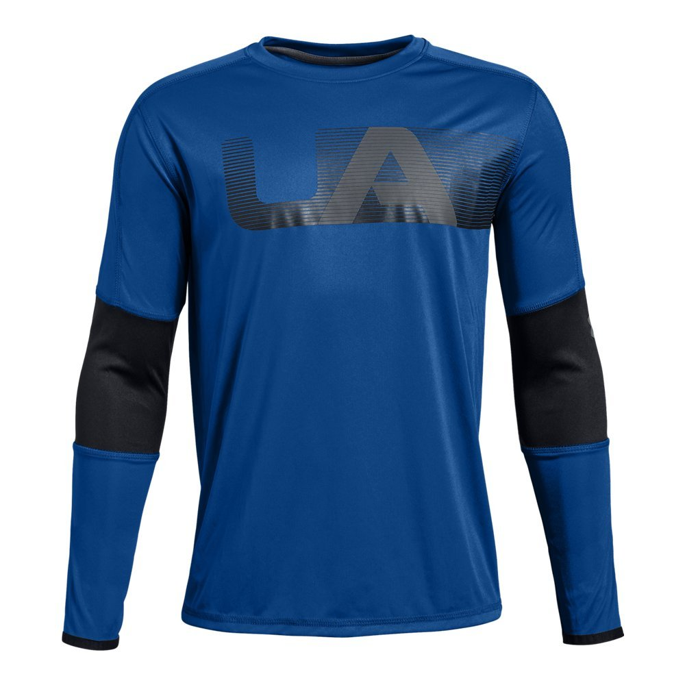 Under Armour Boys Tech Long sleeve Tee, Royal (400)/Graphite, Youth Large by Under Armour