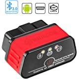 Wsiiroon Bluetooth 3.0 OBD2 Scanner, Android and Windows Dedicated OBD II Car Diagnostic Scan Tool with Switch Auto Sleep and Free Professional APP