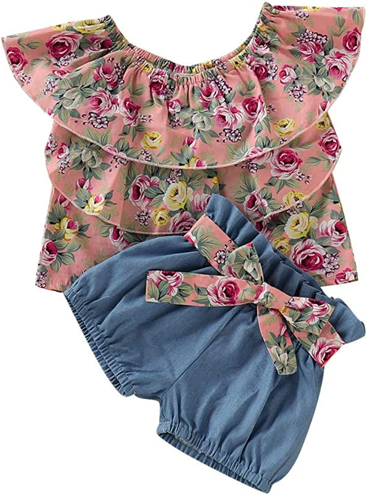 EFINNY Toddler Kids Baby Girls Outfits Clothes Floral Print Ruffle T-Shirt Tops+Shorts Pants Set