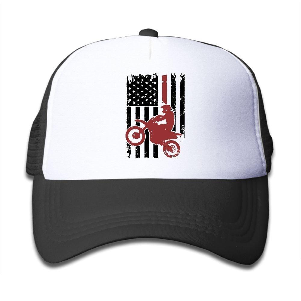 BOYGIRL-CAP USA Flag Dirtbike Motocross Kids Toddler Boys Girls Adjustable Mesh Cap Snapback Mesh Baseball Hat Trucker Hat