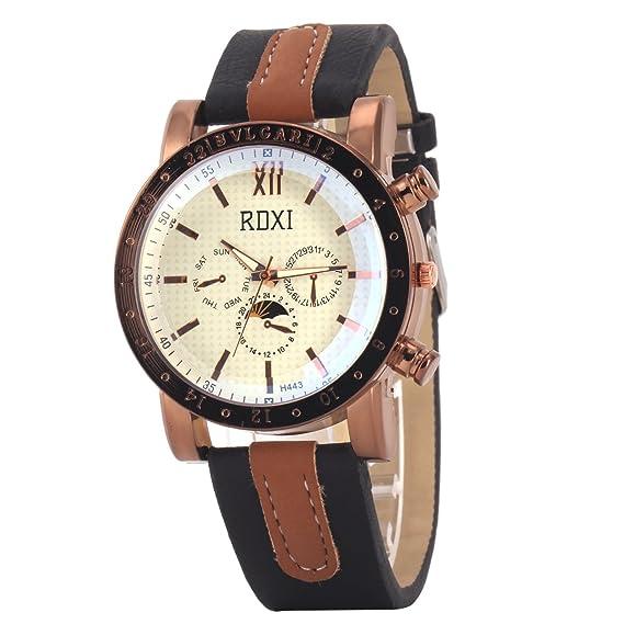 Uq reloj quartz-analogique-homme-rdxi h443-rond-cadran beige-bracelet piel negro: Amazon.es: Relojes