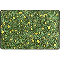 My Little Nest Area Rug Green Leaves Fruit Lightweight Non-Slip Soft Mat 4 x 6, Memory Sponge Indoor Outdoor Decor Carpet For Entrance Living Room Bedroom Office Kitchen Hallway