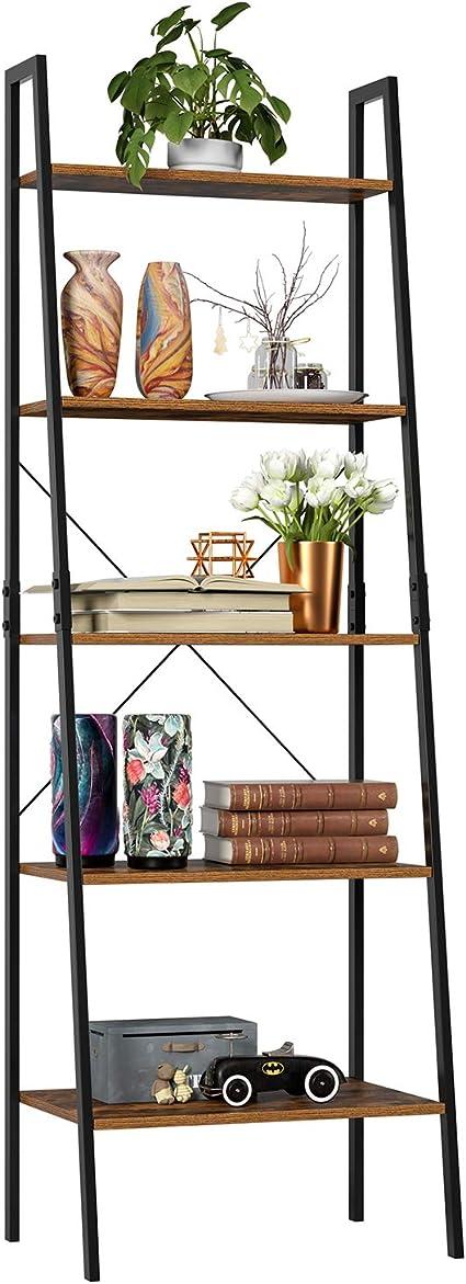 Homfa Estantería Escalera Librería de Pared Estantería Metálica para Salón Terraza Dormitorio con 5 Niveles Vintage y Negro 56x38.5x171cm