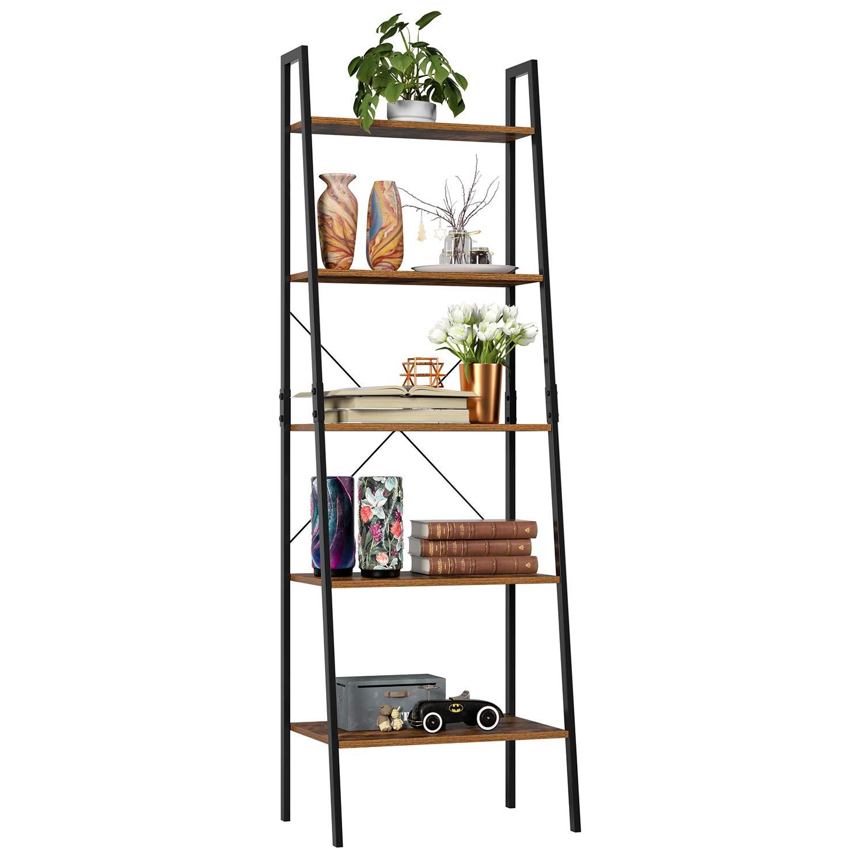 Homfa Industrial Ladder Shelf, 5 Tier Bookshelf Plant Flower Stand Storage Rack Multipurpose Utility Organizer Shelves Wood Look Accent Metal Frame Furniture Home Office by Homfa