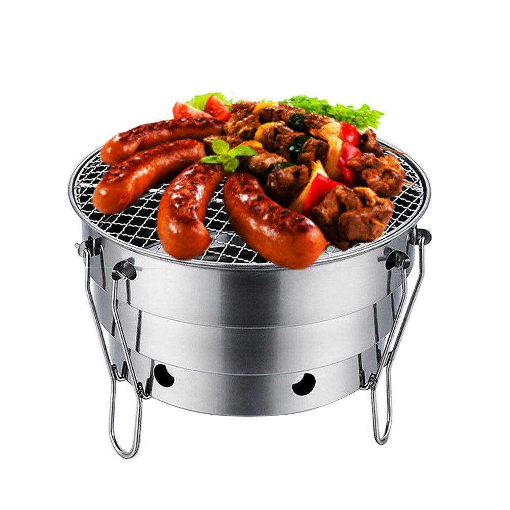 TTXIA@ Grill Holzkohle Grill Outdoor Edelstahl Grill Herd Portable Klappbarer Holzkohlegrill Mini Bbq