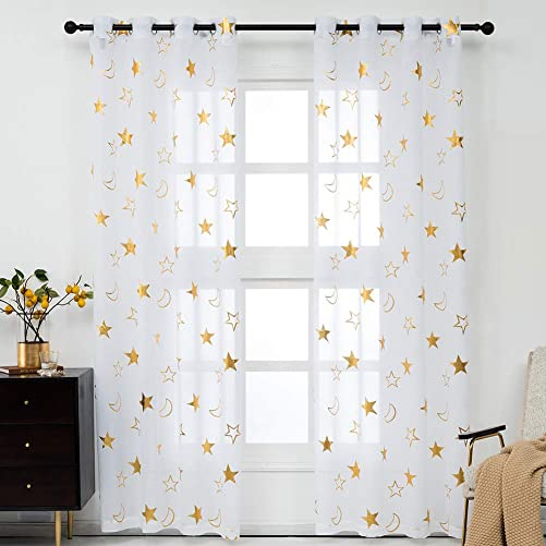 Kotile Gold Star Curtains for Kids Room – White Sheer Curtains 95 Inch Length Grommet Top Metallic Gold Stars Moon Foil Print Window Curtains for Bedroom Girls, 52 x 95 Inch, 2 Panels, Gold and White